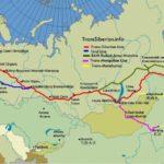 A nagy transzszibériai vasút térképen, mellék vonalakkal