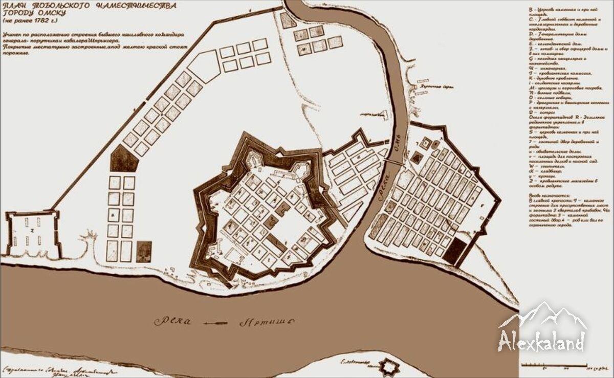 A második, téglából épült omszki erőd korabeli térképe