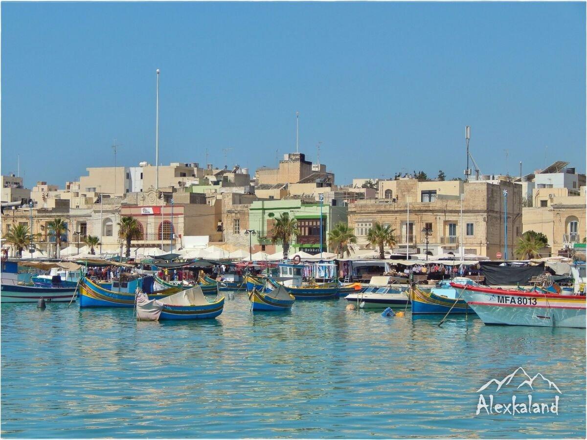 Marsaxlokk nevű halászfalu