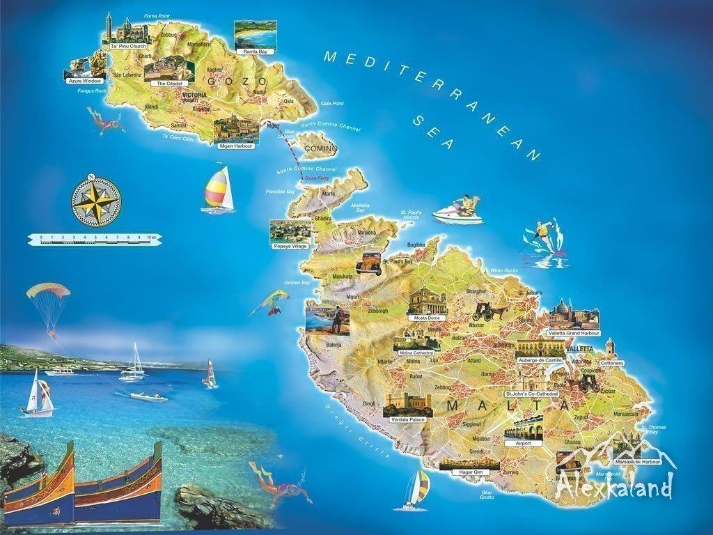 Málta néhány fontosabb látnivalóinak a térképe